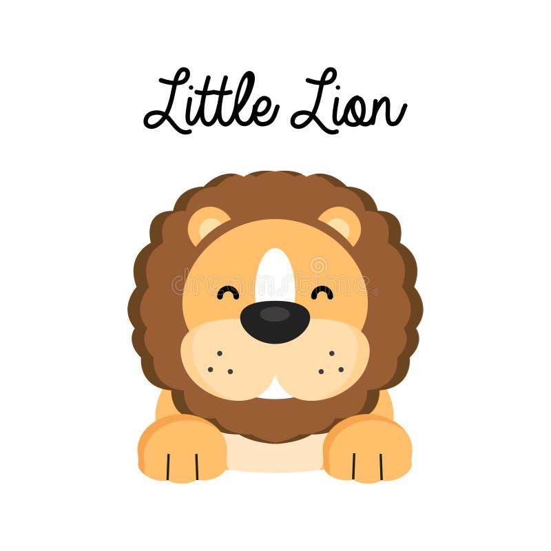 Poco león feliz de la historieta aislado en el fondo blanco ilustración del vector