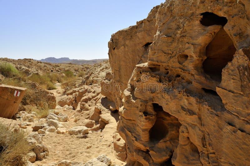 Poco lecho de un río seco rojo en desierto del Néguev. foto de archivo