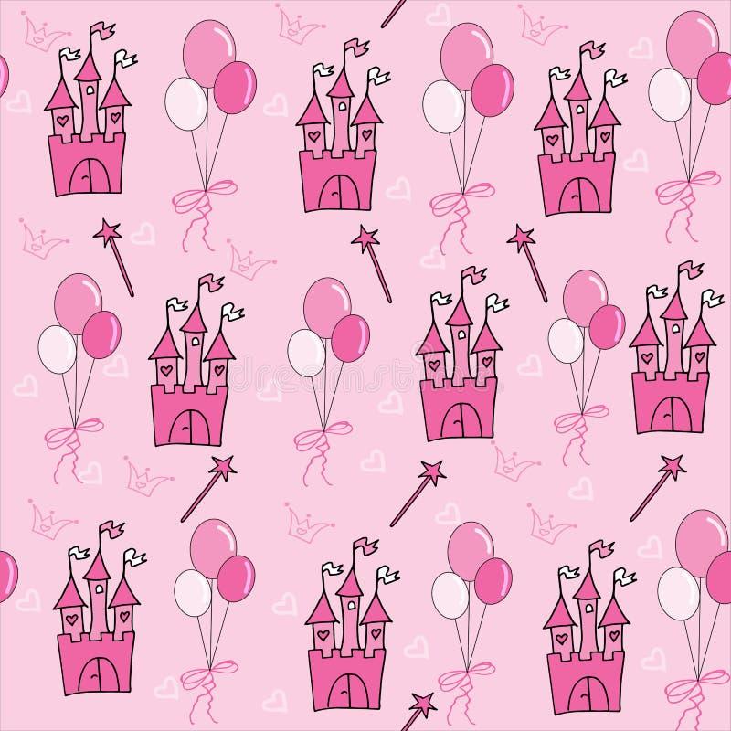 Poco modelo inconsútil de la princesa en rosa con los globos ilustración del vector