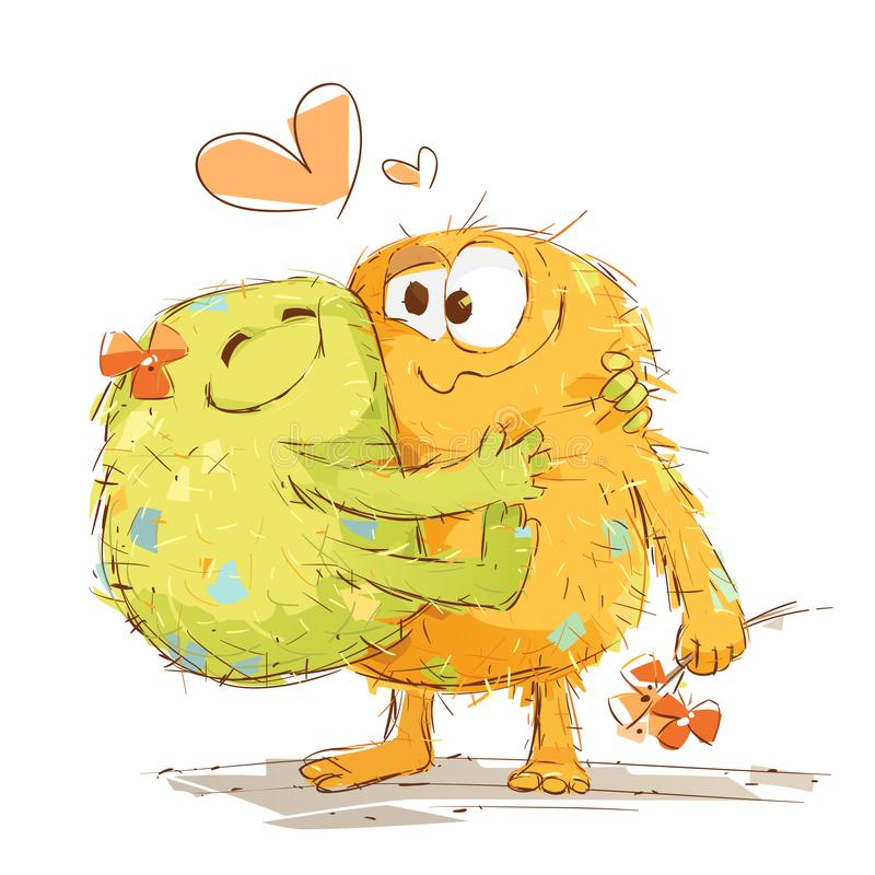 Poco monstruos el día de tarjeta del día de San Valentín stock de ilustración