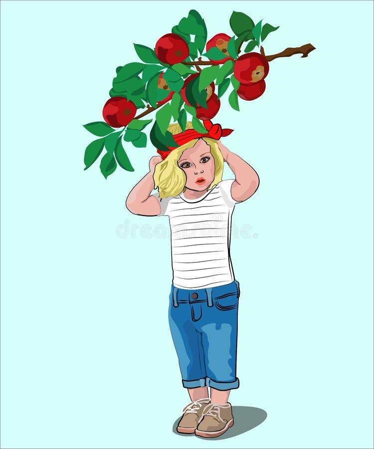 Poco muchacha hermosa bajo rama del manzano stock de ilustración