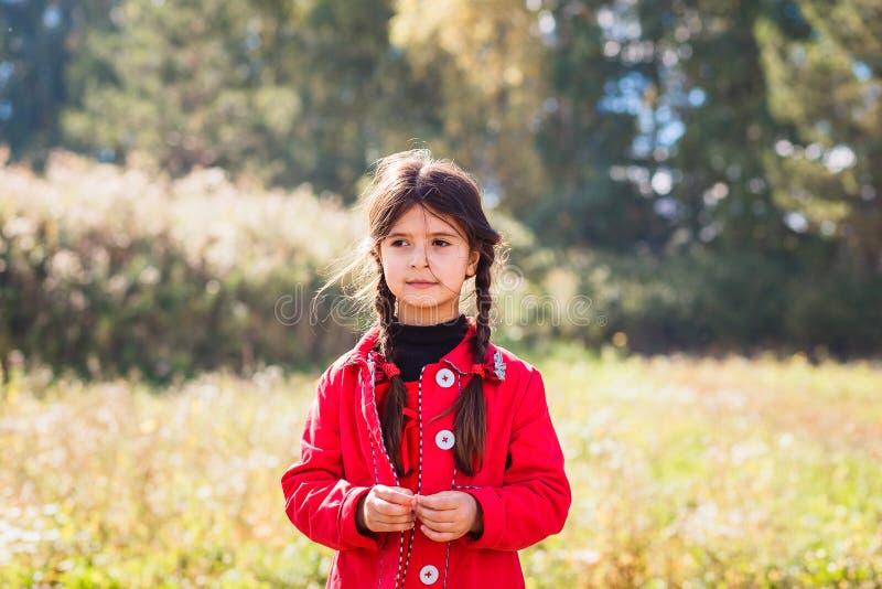 Poco muchacha linda de cinco años en una capa roja y coletas al aire libre imagen de archivo