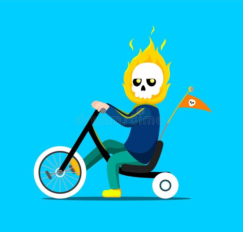Poco muchacho del jinete del fantasma que monta una bicicleta stock de ilustración