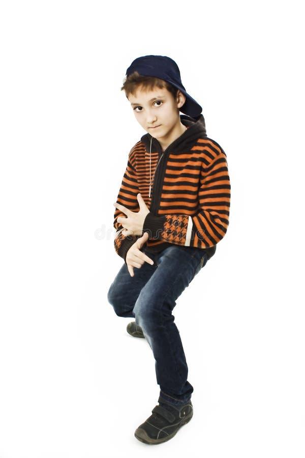 Poco muchacho fresco de hip-hop en danza. foto de archivo libre de regalías