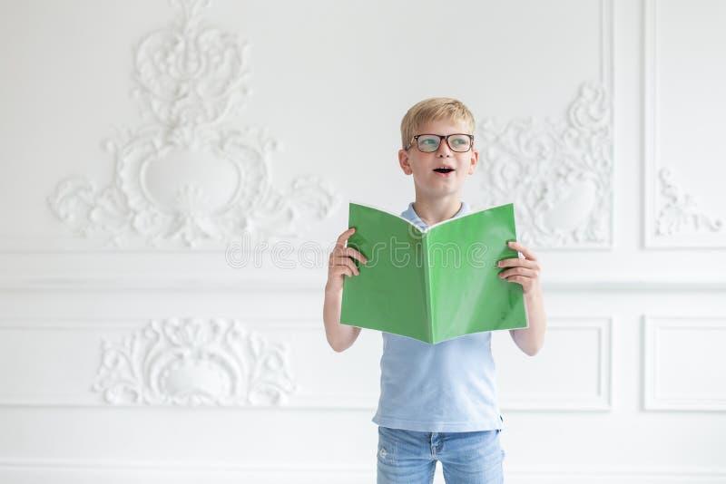 Poco muchacho rubio abre su boca y la presentación con el Libro verde en manos fotos de archivo libres de regalías