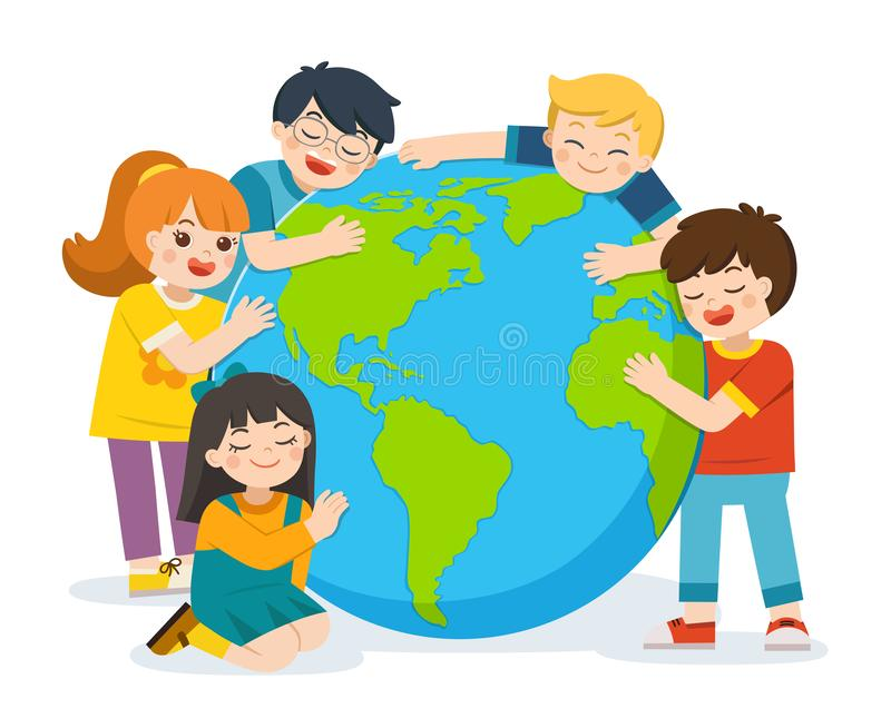 Poco muchacho y muchacha lindos está abrazando la tierra del planeta sobre un fondo blanco ilustración del vector