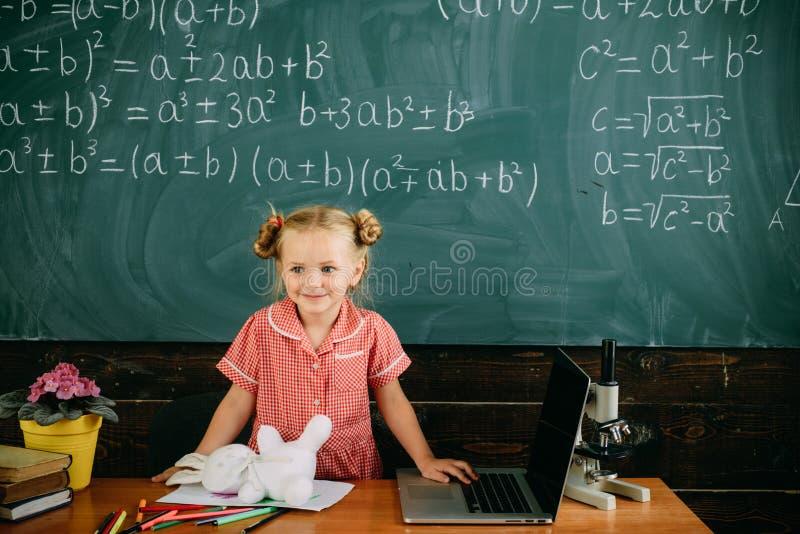 Poco niño tiene lección de la escuela en matemáticas La muchacha linda hace sumas en las matemáticas en la pizarra La matemáticas imagen de archivo libre de regalías