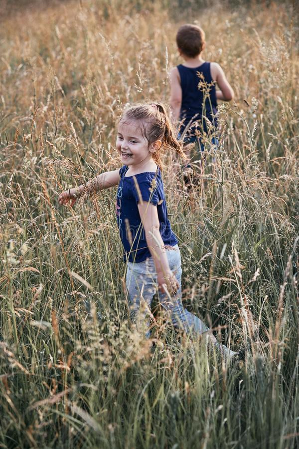Poco niños sonrientes felices que juegan en una hierba alta fotografía de archivo