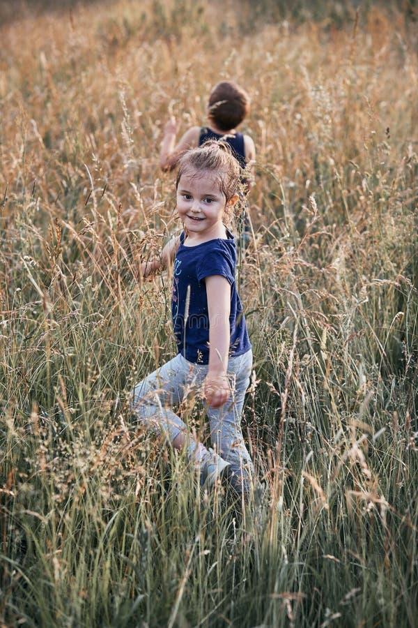 Poco niños sonrientes felices que juegan en una hierba alta imágenes de archivo libres de regalías