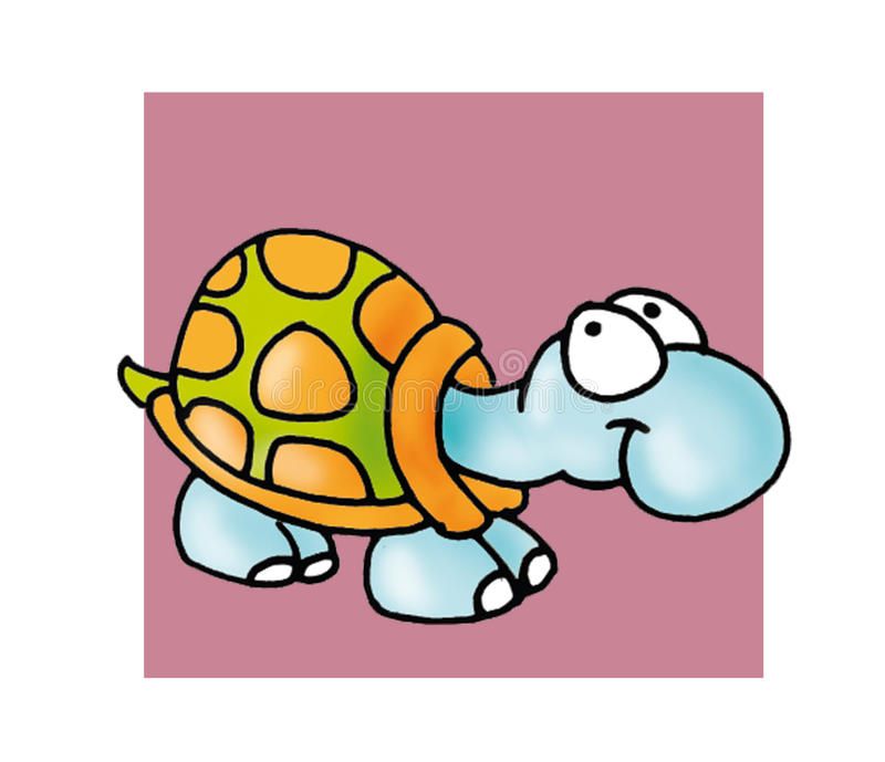 Poco oltre il bottone o l'icona dell'umorista dell'illustrazione di colore della tartaruga royalty illustrazione gratis
