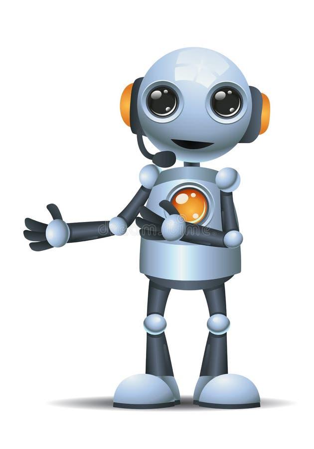 Poco operador del robot en fondo blanco aislado stock de ilustración