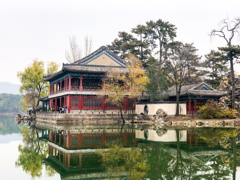 Poco pabellones siguientes el lago dentro del palacio de verano imperial del centro turístico de montaña en Chengde imagen de archivo libre de regalías