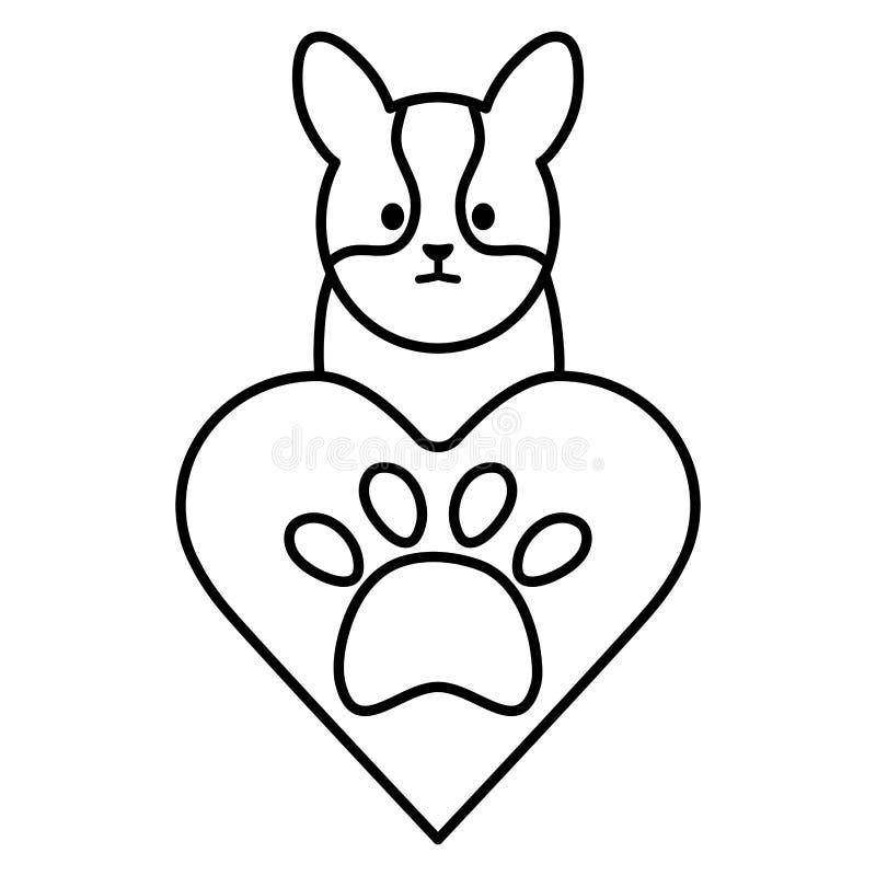 Poco perro adorable con el corazón y la huella ilustración del vector