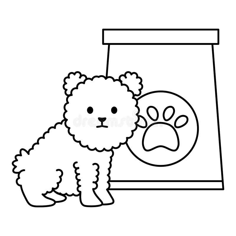 Poco perro adorable con la bolsa de papel y la huella stock de ilustración