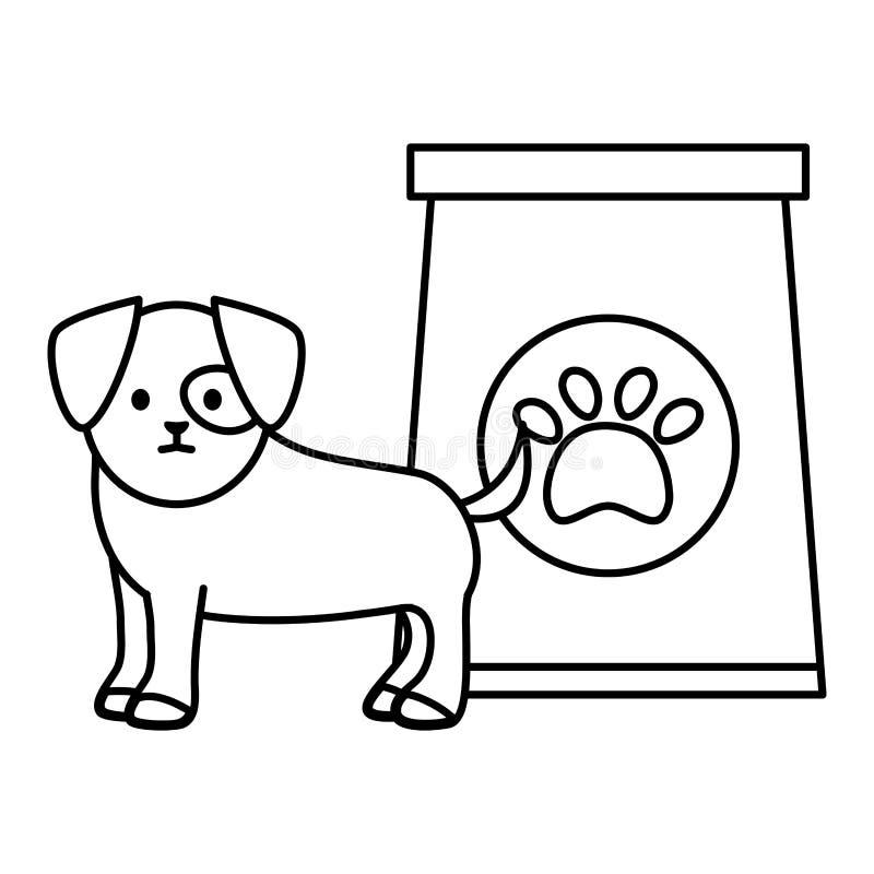 Poco perro adorable con la bolsa de papel y la huella ilustración del vector