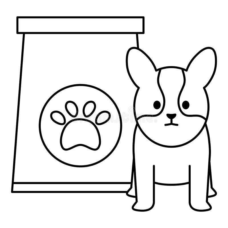 Poco perro adorable con la bolsa de papel y la huella libre illustration
