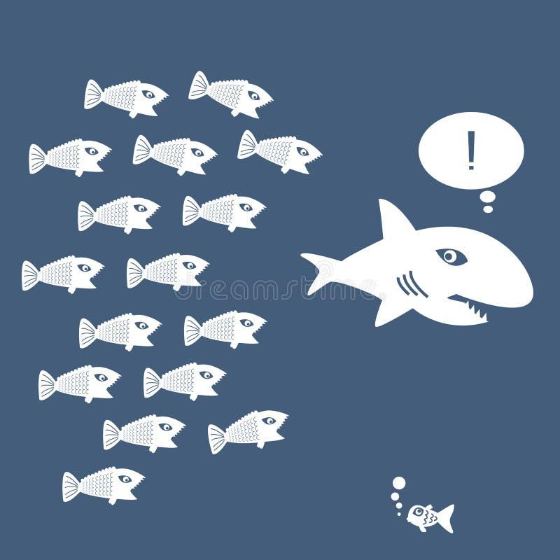 Poco pesce mangia il grande pesce royalty illustrazione gratis