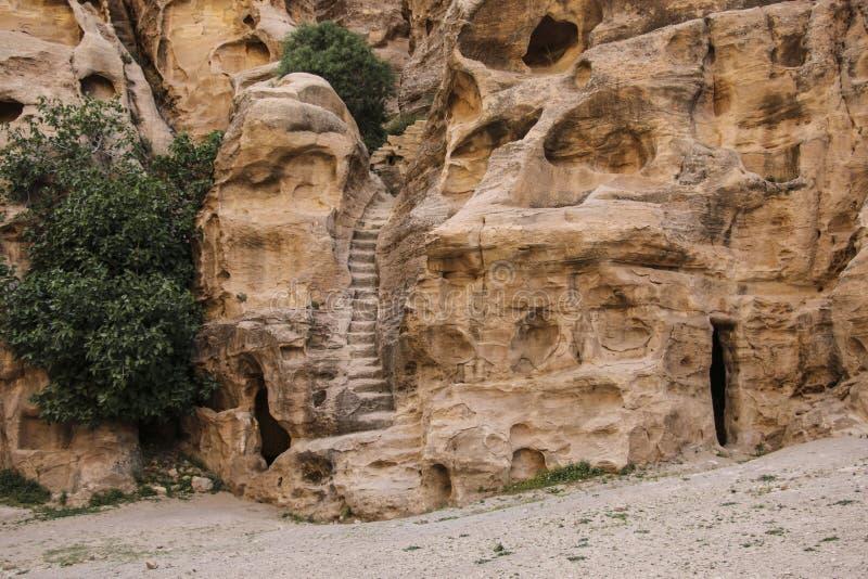 Poco Petra en el al-Barid de Siq, Wadi Musa, Jordania El architectur foto de archivo