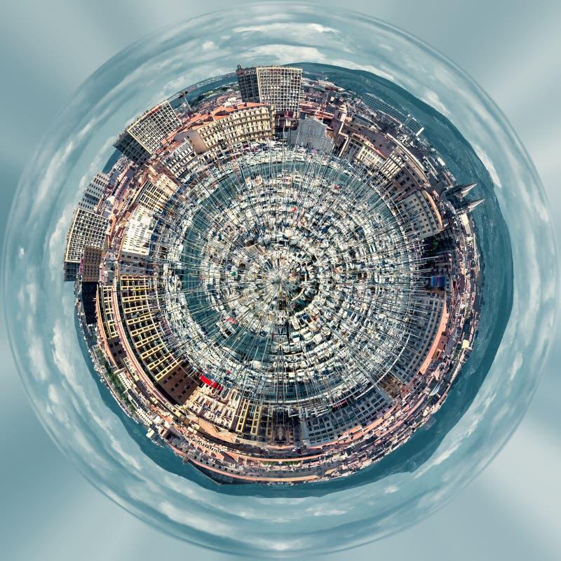Poco pianeta una sfera da 360 gradi Panorama di vecchio porto di Marsiglia illustrazione vettoriale