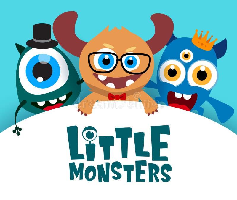 Poco plantilla del fondo del vector de los monstruos Los pequeños monstruos mandan un SMS en el espacio blanco vacío para el mens stock de ilustración