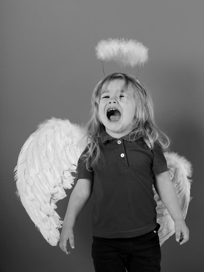 poco ragazzo di angelo che grida con le ali e l'alone della piuma bianca immagine stock libera da diritti