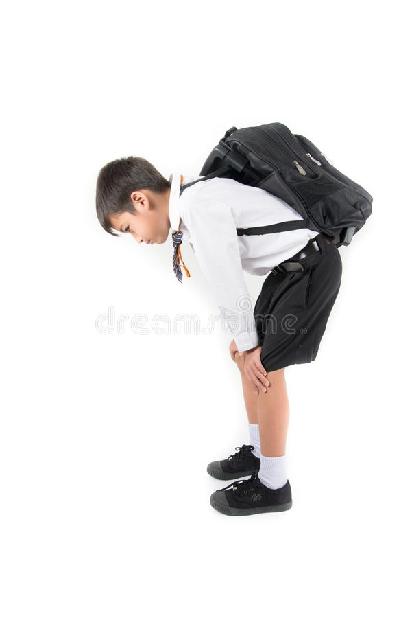 Poco ragazzo di scuola che prende borsa pesante in pieno dei libri sopra indietro immagini stock libere da diritti