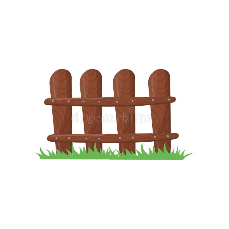 Poco recinto dell'azienda agricola fatto delle plance marroni Erba verde intenso Recinzione di legno battuta con i chiodi Icona d illustrazione vettoriale