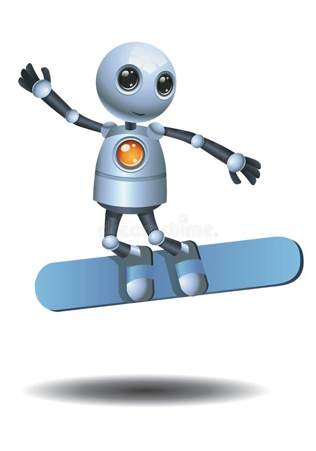 Poco robot che pratica il surfing sul fondo bianco isolato illustrazione di stock