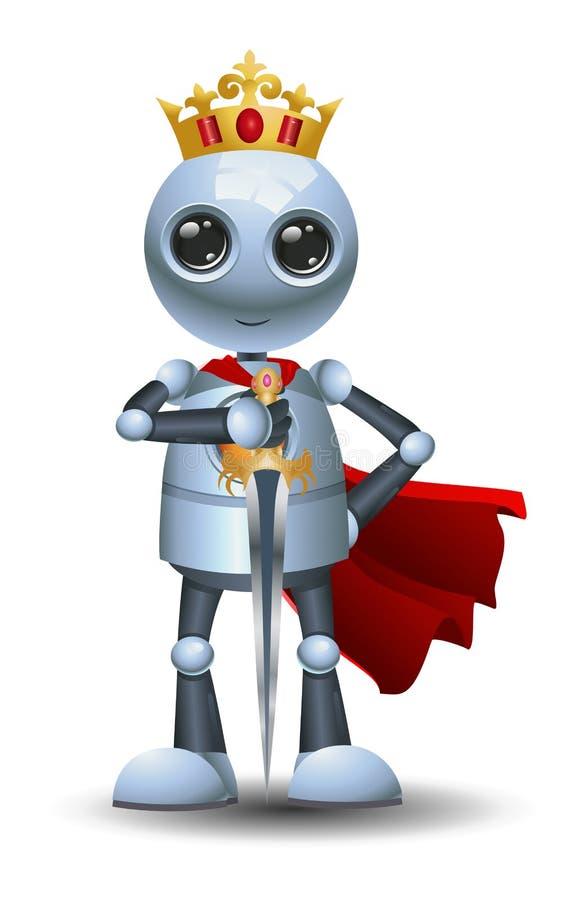 Poco robot como rey ilustración del vector