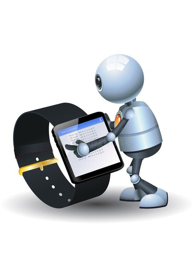 Poco robot facendo uso dell'orologio astuto di nuova tecnologia royalty illustrazione gratis