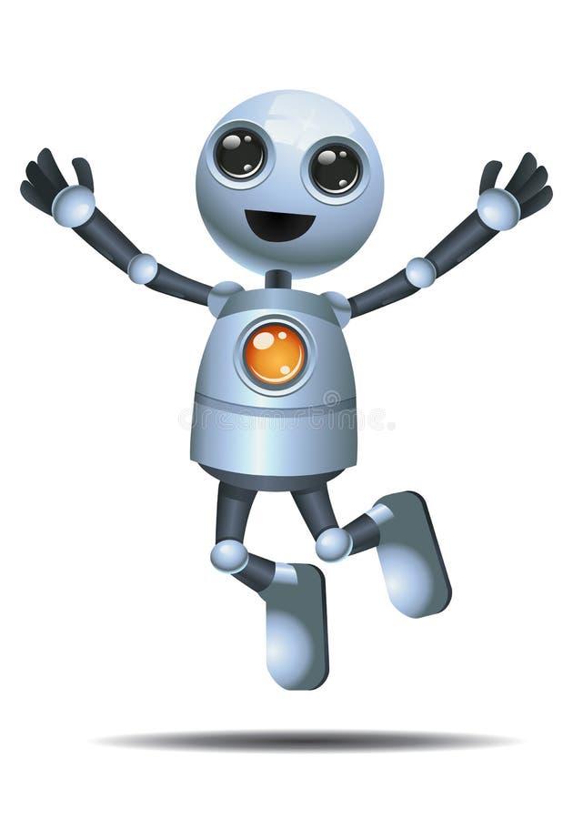 Poco salto del robot en felicidad ilustración del vector
