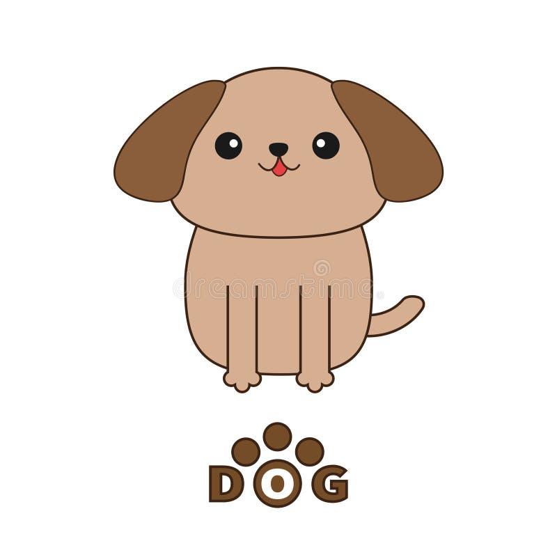 Poco texto del perro de Shih Tzu del moreno del encanto con la impresión de la pata Personaje de dibujos animados lindo Colección ilustración del vector