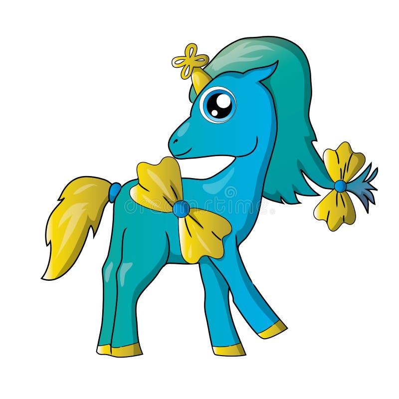 Poco unicornio azul de la historieta con los arcos vector el EPS o el jpg fotografía de archivo libre de regalías