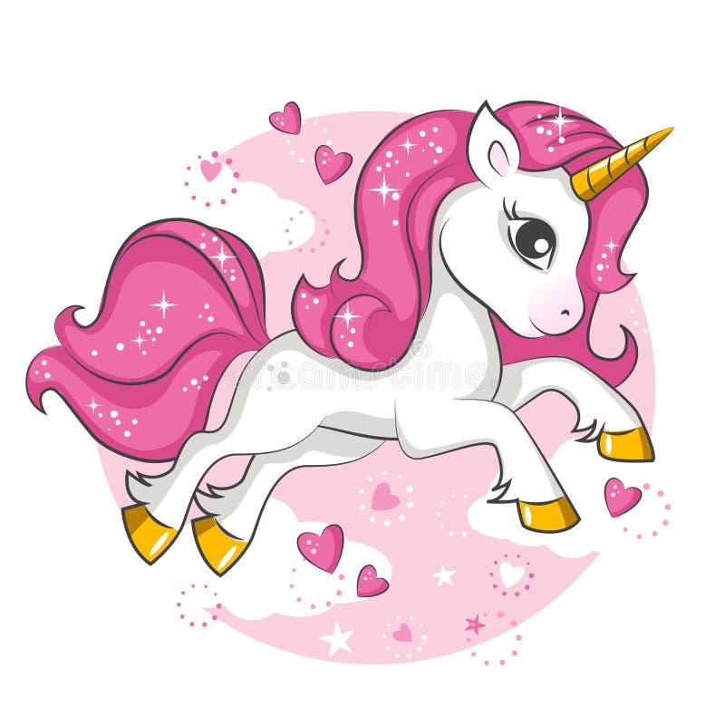 Poco unicornio rosado Diseño para los niños stock de ilustración