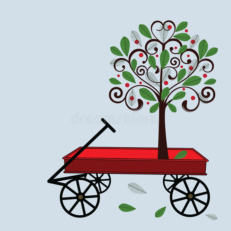 Poco vagone rosso con l'albero illustrazione di stock
