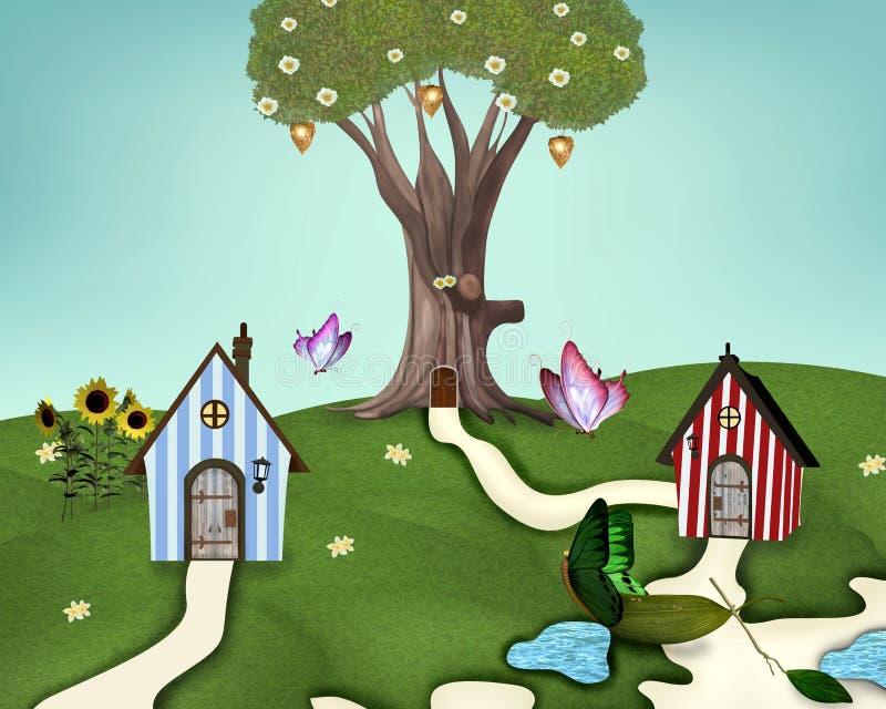 Poco villaggio di estate royalty illustrazione gratis
