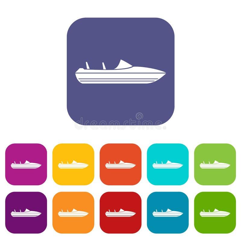Pocos iconos del powerboat fijados ilustración del vector
