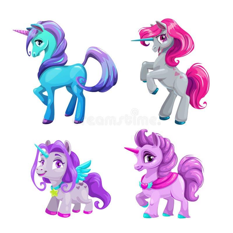 Pocos iconos lindos del unicornio de la historieta fijados Potro hermoso de la fantasía ilustración del vector