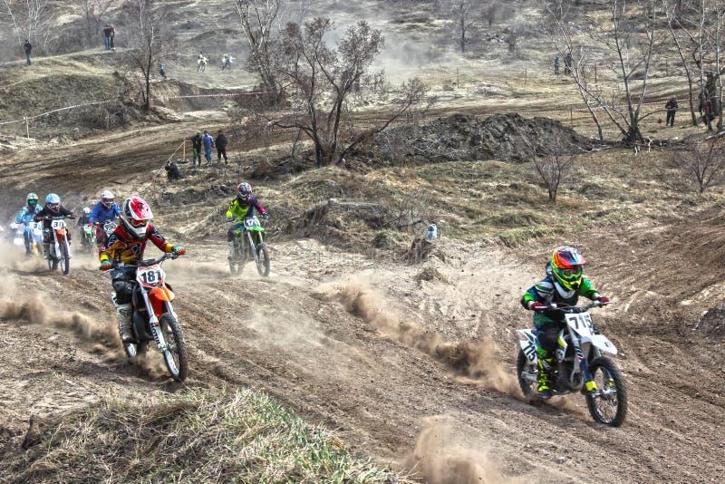 Początek rywalizacja w motocross zdjęcie royalty free