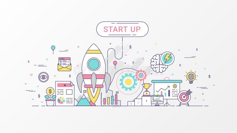 Początkowa firma Szybko rozwijający się biznes infographic Horyzontalny składu szablon zawiera Rakietowe ikony, Biznesowy planowa ilustracja wektor
