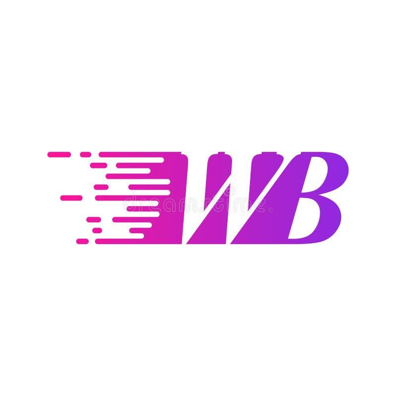 Początkowa litera WB szybko poruszający się wektor logo, purpurowy kolor różowy royalty ilustracja