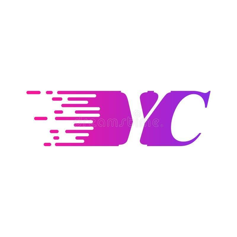 Początkowa litera YC szybko poruszający się wektor logo, fioletowy różowy kolor royalty ilustracja