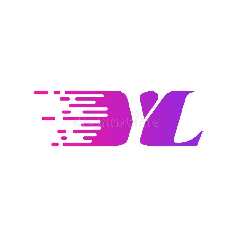 Początkowa litera YL szybko poruszający się wektor logo, fioletowy różowy kolor ilustracji