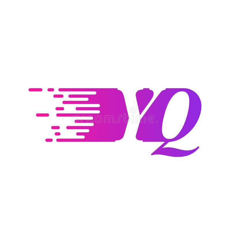 Początkowa litera YQ z szybko poruszającym się wektorem logo, fioletowy różowy kolor royalty ilustracja