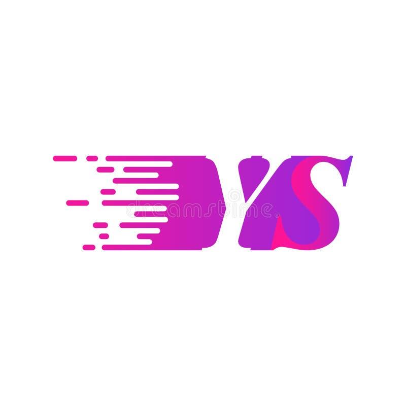 Początkowa litera YS (szybki ruch) wektor logo, fioletowy różowy kolor ilustracji