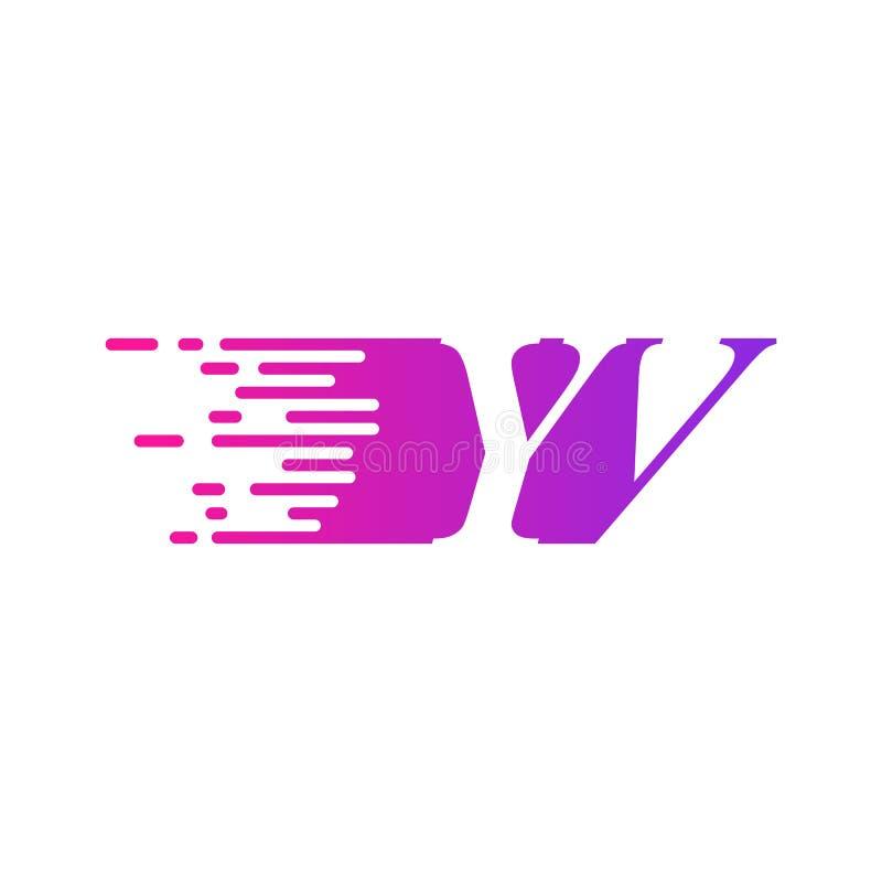 Początkowa litera YV z szybko poruszającym się wektorem logo, fioletowy różowy kolor royalty ilustracja