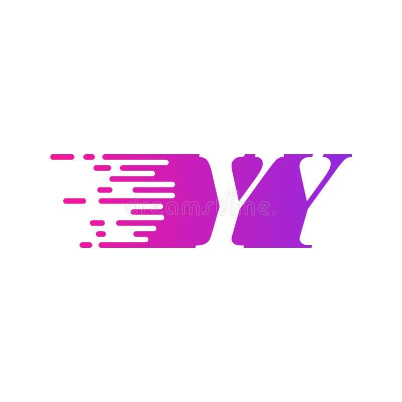 Początkowa litera YY szybko poruszający się wektor logo, fioletowy różowy kolor ilustracja wektor
