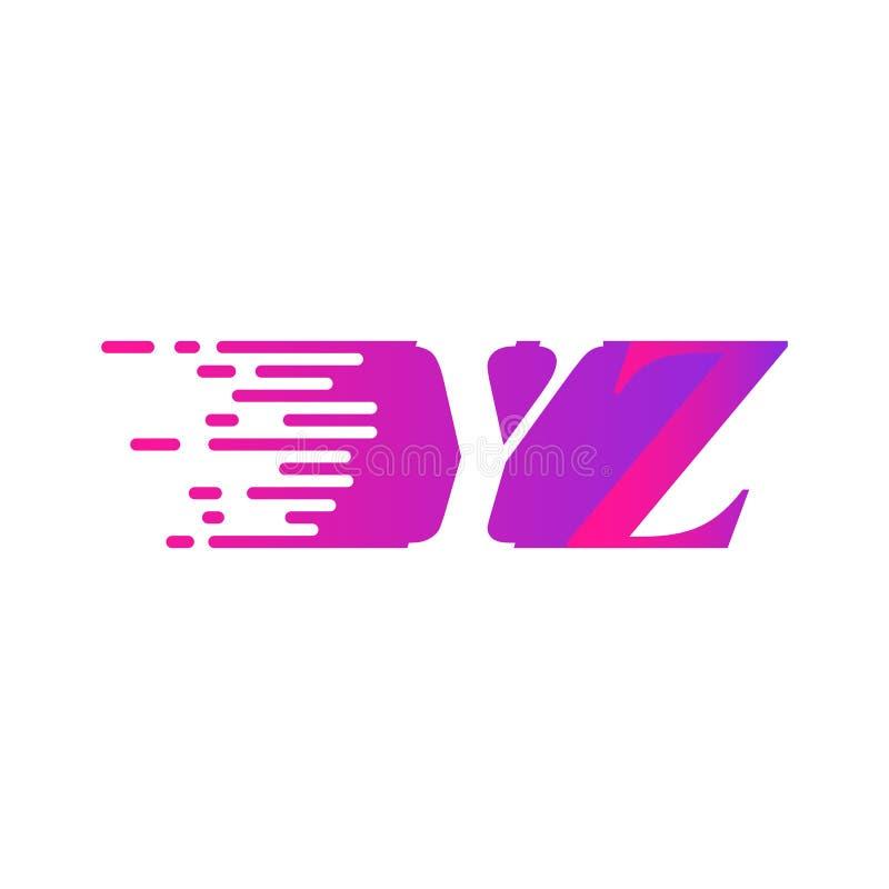Początkowa litera YZ szybko poruszający się wektor logo, fioletowy różowy kolor ilustracja wektor