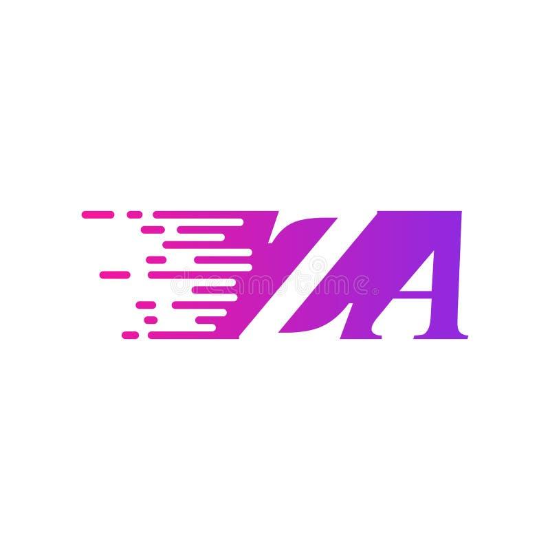 Początkowa litera ZA szybko poruszający się wektor logo, fioletowy różowy kolor royalty ilustracja