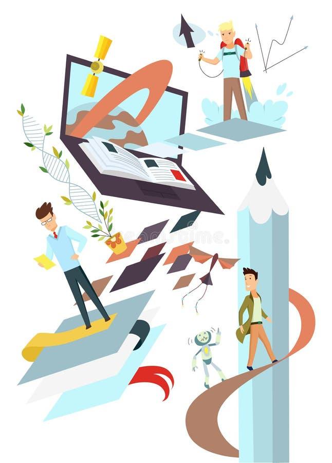 Początkowa pojęcie ilustracja Naukowi osiągnięcia Badanie, biznes, rozwój i pomysły, ilustracji